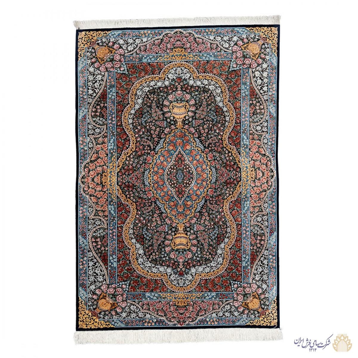 فرش دستباف سه متری ابریشمی قم لچک ترنج هزار گل