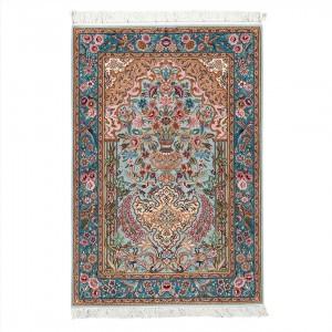 فرش دستباف یک و نیم متری کرک و ابریشم اصفهان گلدانی