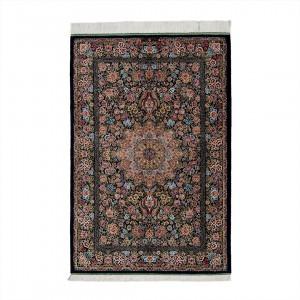 فرش دستباف یک و نیم متری تمام ابریشم قم ترنجی