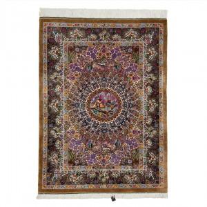 فرش دستباف دو متری تمام ابریشم قم لچک ترنج