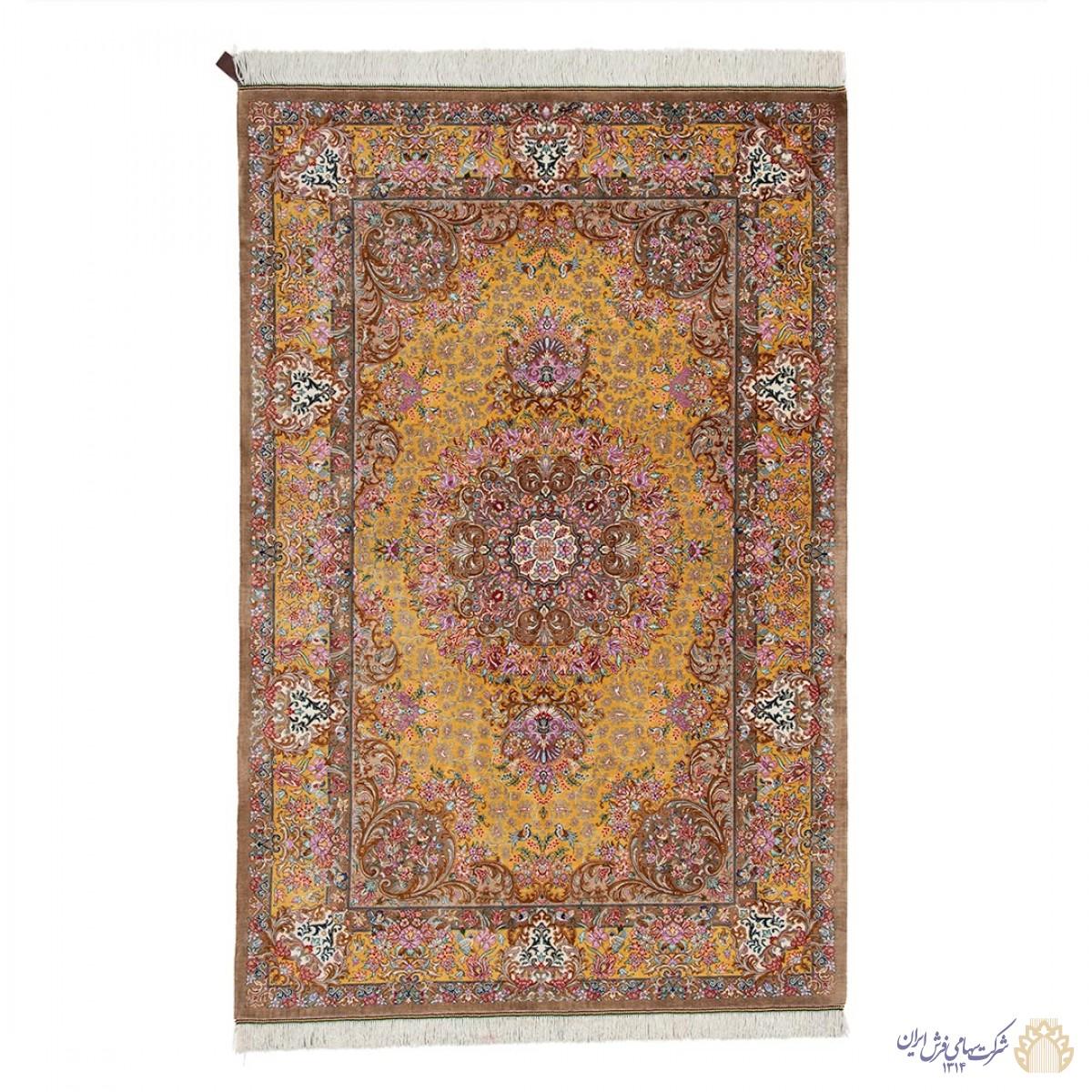 فرش دستباف سه متری تمام ابریشم قم لچک ترنج