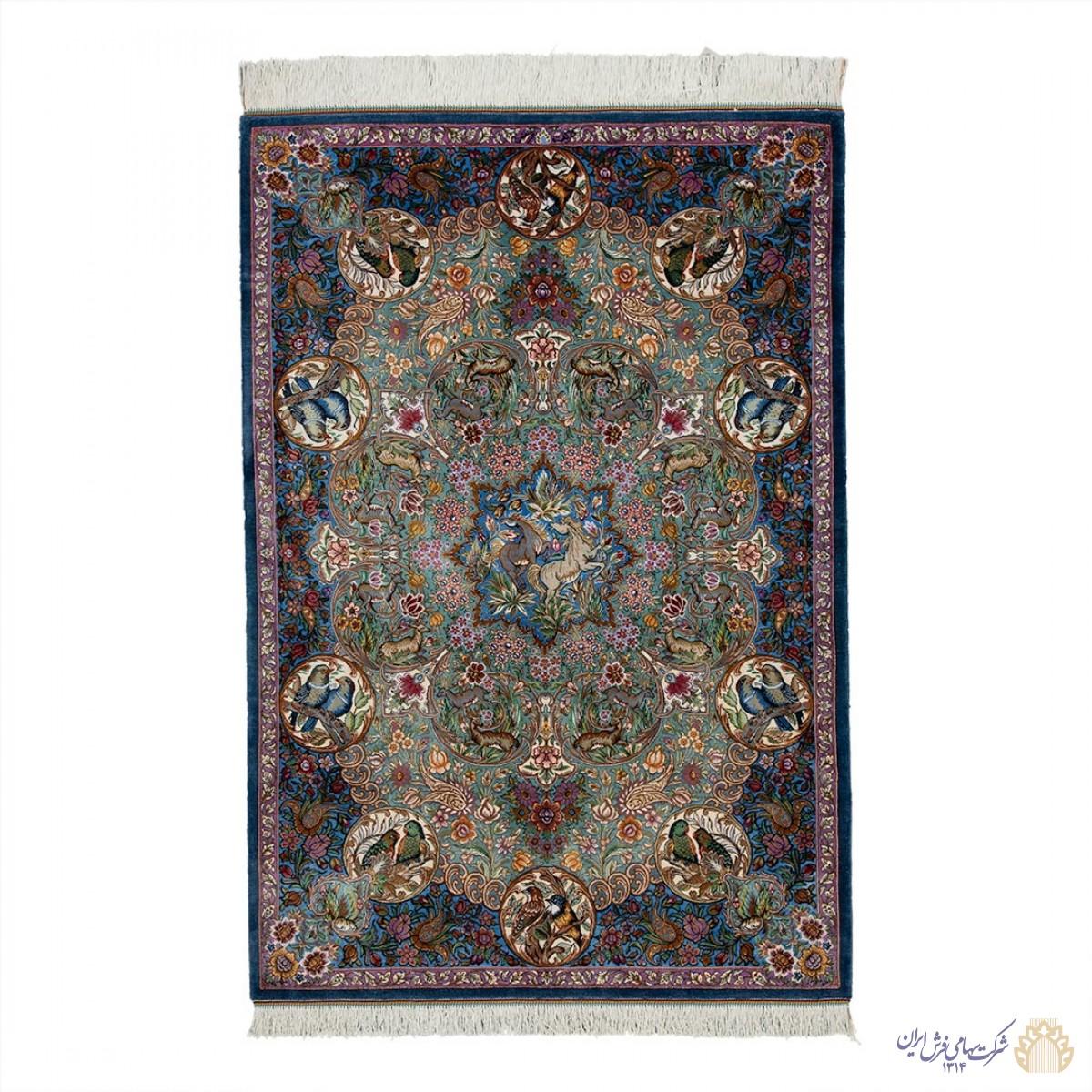 فرش دستباف یک و نیم متری تمام ابریشم قم تلفیقی