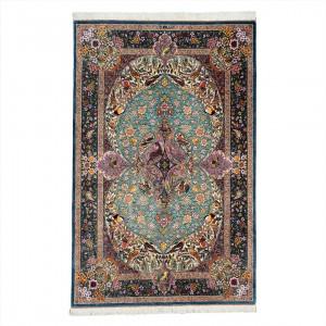 فرش دستباف سه متری تمام ابریشم قم تلفیقی