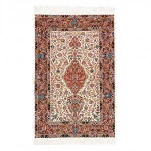 فرش دستباف سه متری کرک و ابریشم اصفهان گلدانی