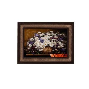تابلو فرش دستباف کرک و ابریشم تبریز طرح گلدان گل